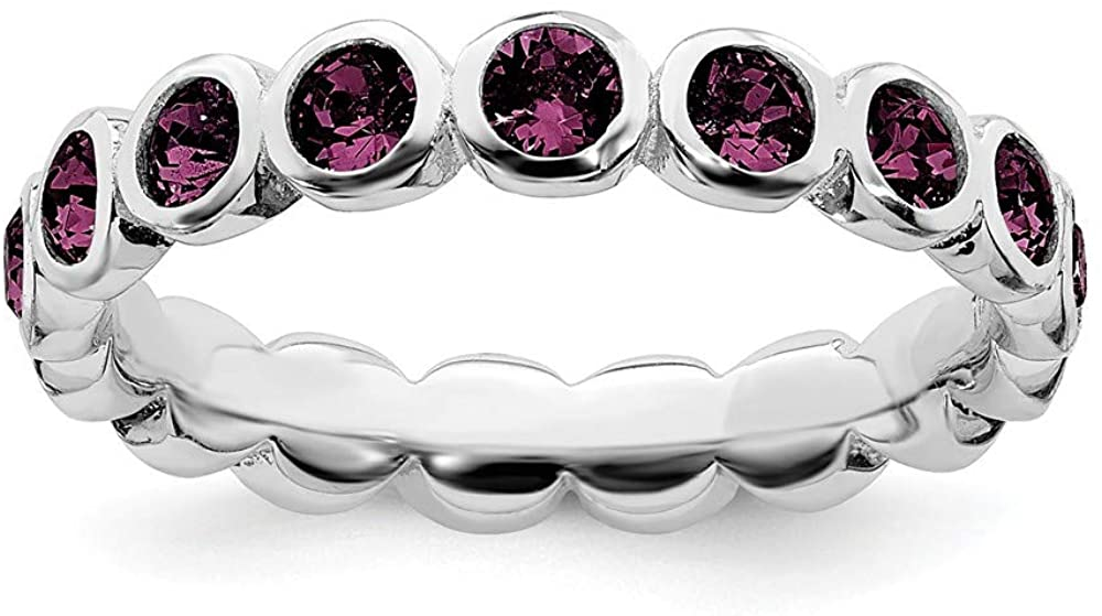 Beautiful Sterling silver 925 sterling Sterling Silver Stackable Expressions June Swarovski Ring