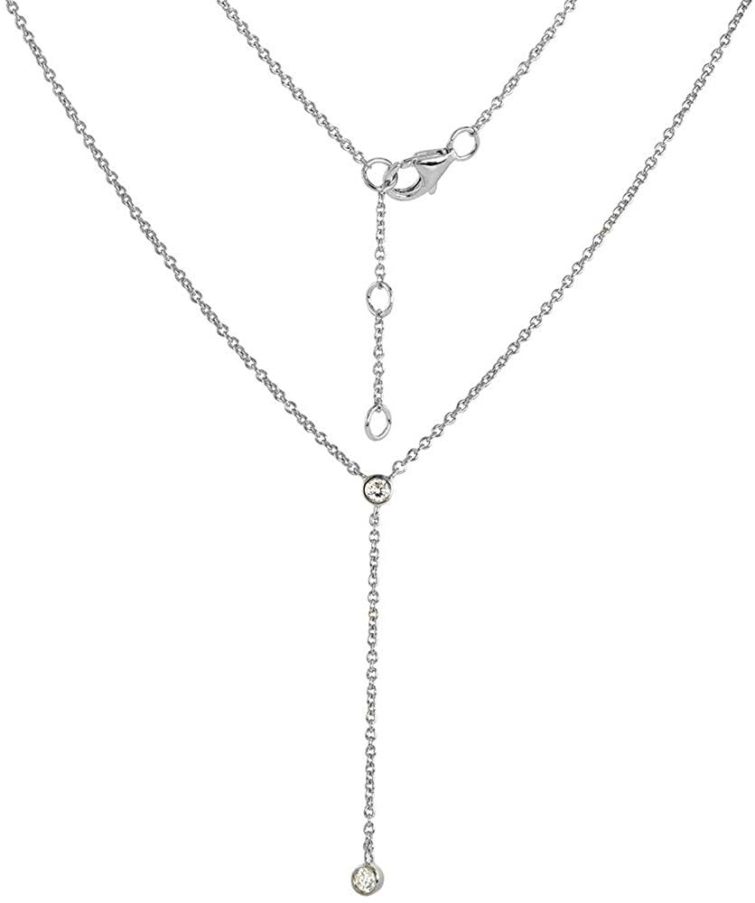 Sterling Silver Cubic Zirconia Y Necklace Bracelet Jewelry Set Rhodium Finish