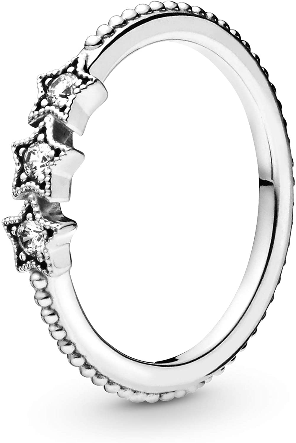 Pandora Jewelry Celestial Stars Cubic Zirconia Ring in Sterling Silver, Size 7.5