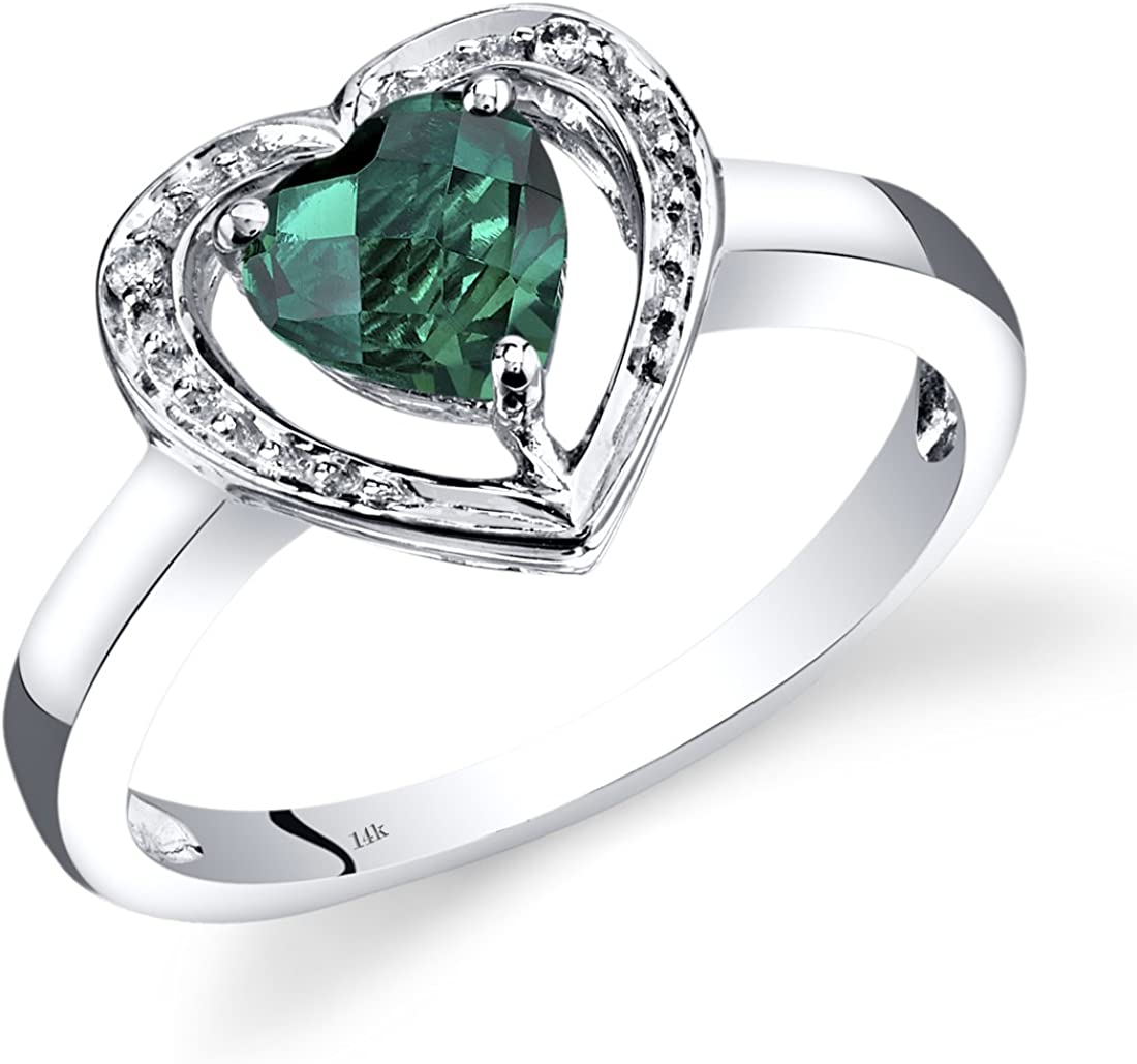 14K White Gold Created Emerald Diamond Heart Shape Promise Ring 0.75 Carats Total