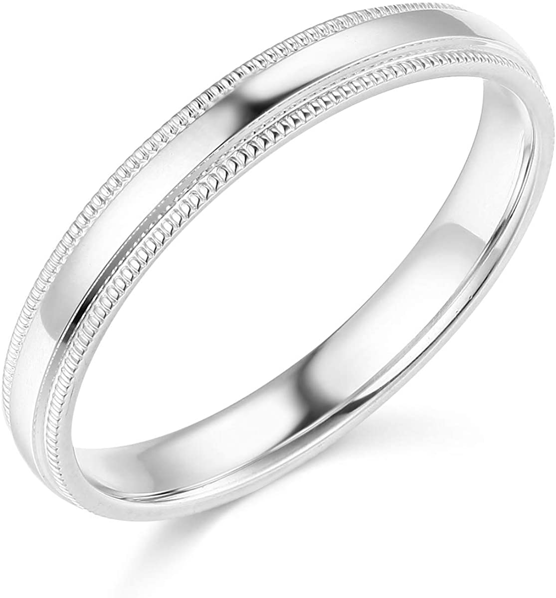 Wellingsale Ladies 14k Yellow -OR- White Gold Solid 3mm COMFORT FIT Milgrain Traditional Wedding Band Ring