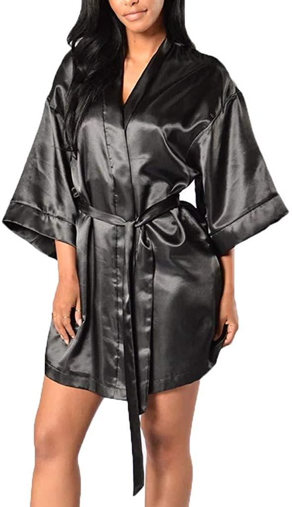 Malbaba Plus Size Kimono Women's Lace-Trimmed Satin Short Kimono Robe Bathrobe Loungewear