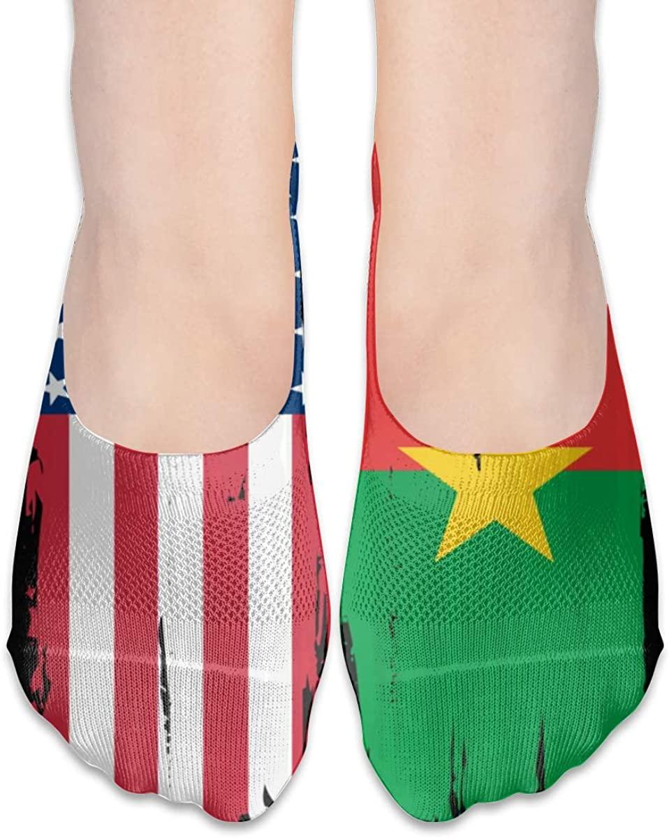 USA Burkina Faso Flag No Show Socks Women Low Cut Liner Ankle Socks For Flats