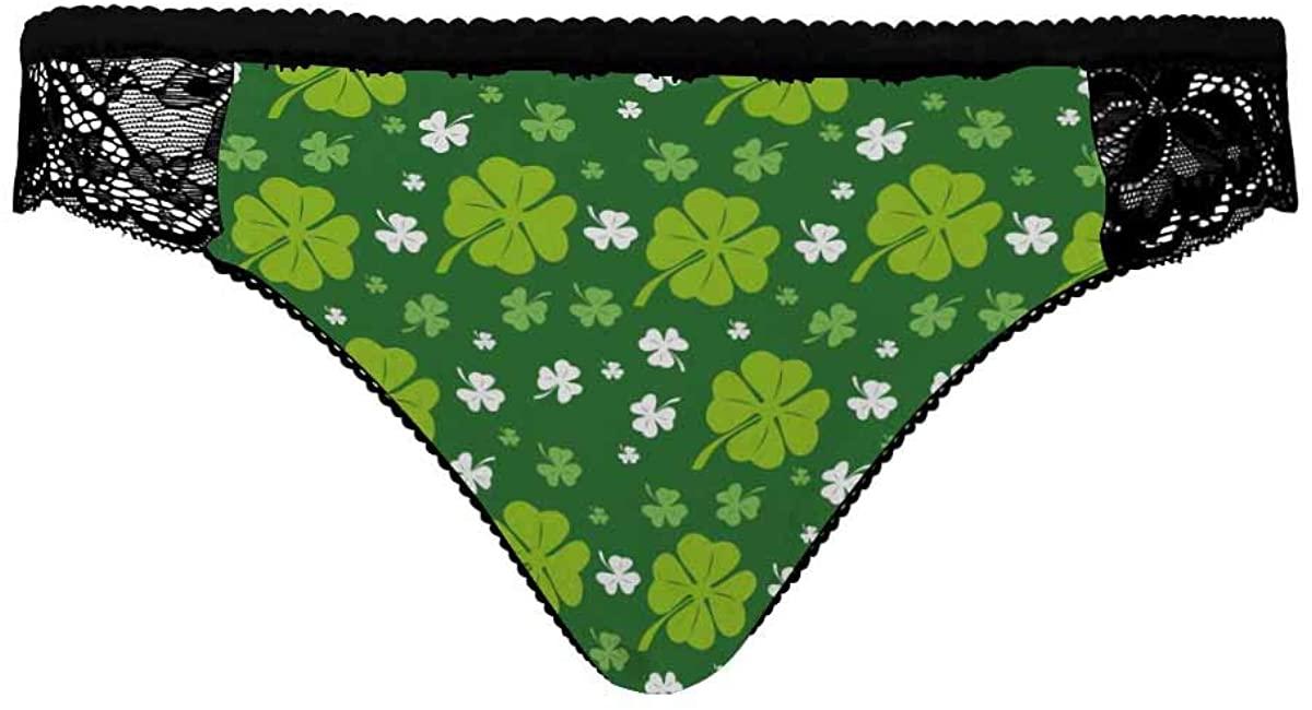 INTERESTPRINT Womens Underwear Brief Hipster Pantie Soft Fabric Green Leaf Floral Clover