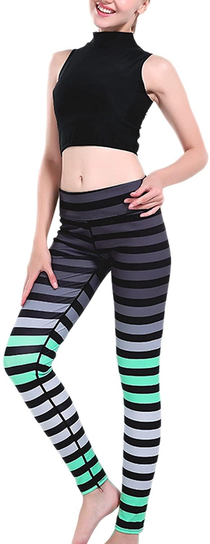 Yacun Women's Striped Print Leggings Yoga Workout Stretch Pants