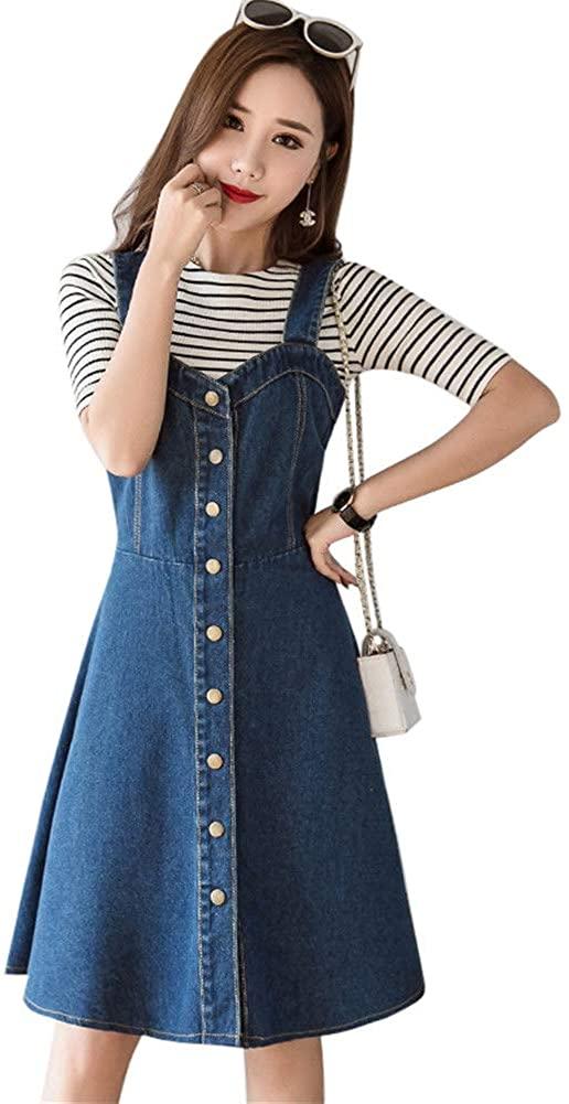 Drasawee Women's A Line Casual Midi Length Denim Overall Dress Suspender Jumper Jean Skirt