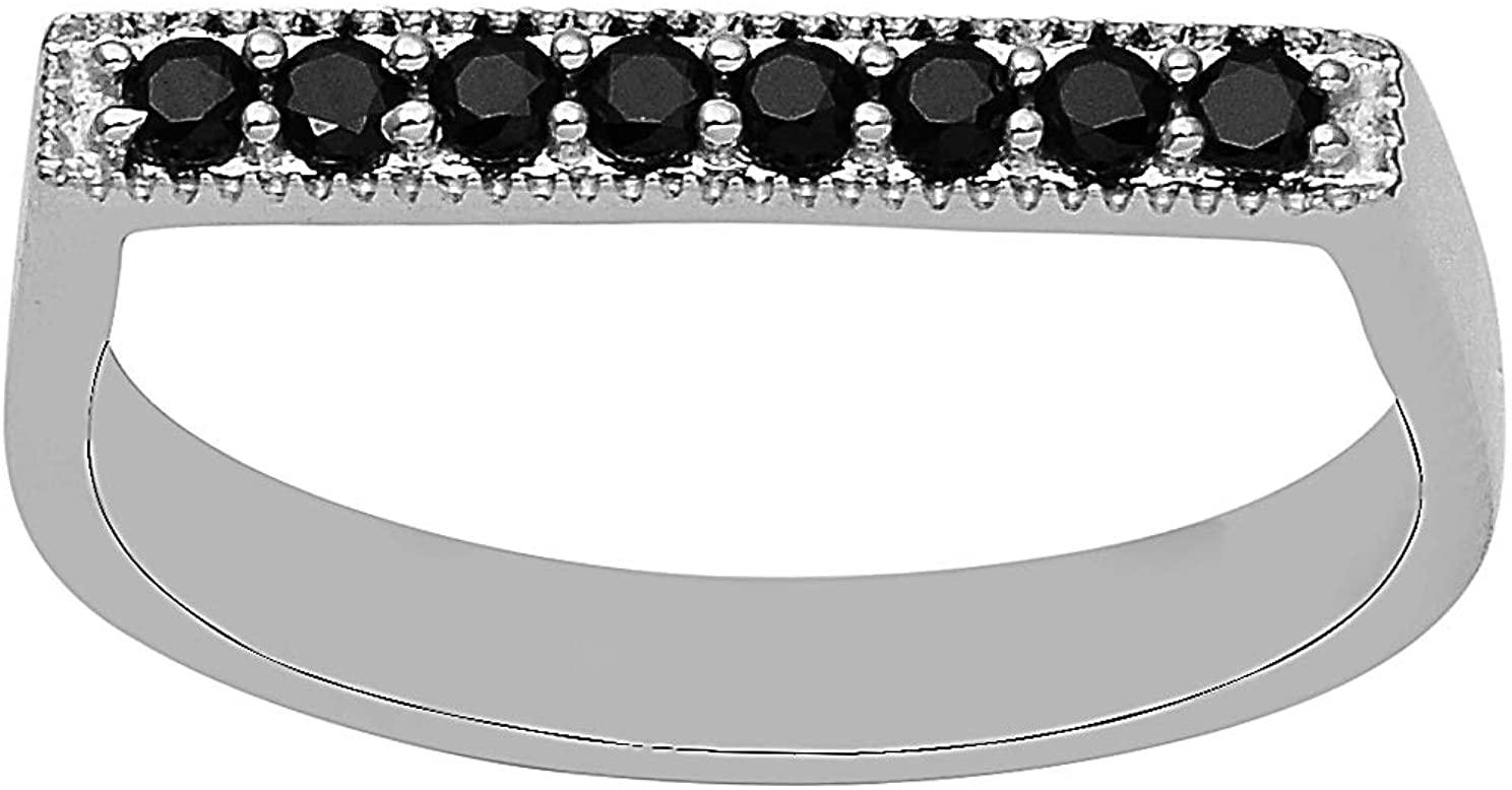 2.5 mm Black Spinel 925 Sterling Silver Stackable Stacking Women Wedding D Shape Ring (7)