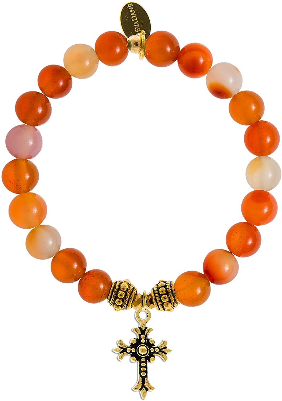 EvaDane Natural Carnelian Gemstone Rope Bead Cross Charm Stretch Bracelet