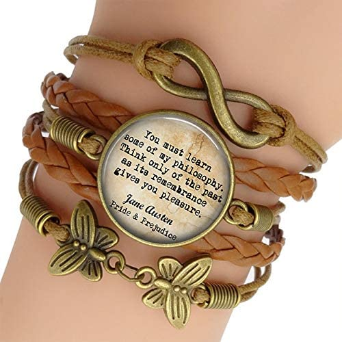 Davitu Wrap Bracelets - Jane Austen Quote Fashion Leather Double Multilayer Braided Bracelets Infinite Jewelry Pride and Prejudice Book Lovers Gift - (Metal Color: AS Show)