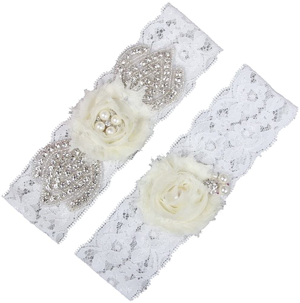 JENTAG KILN Wedding Bridal Garter Belt Set with Rhinestones Pearls,Vintage Lace Chiffon Flowers Wedding Garter