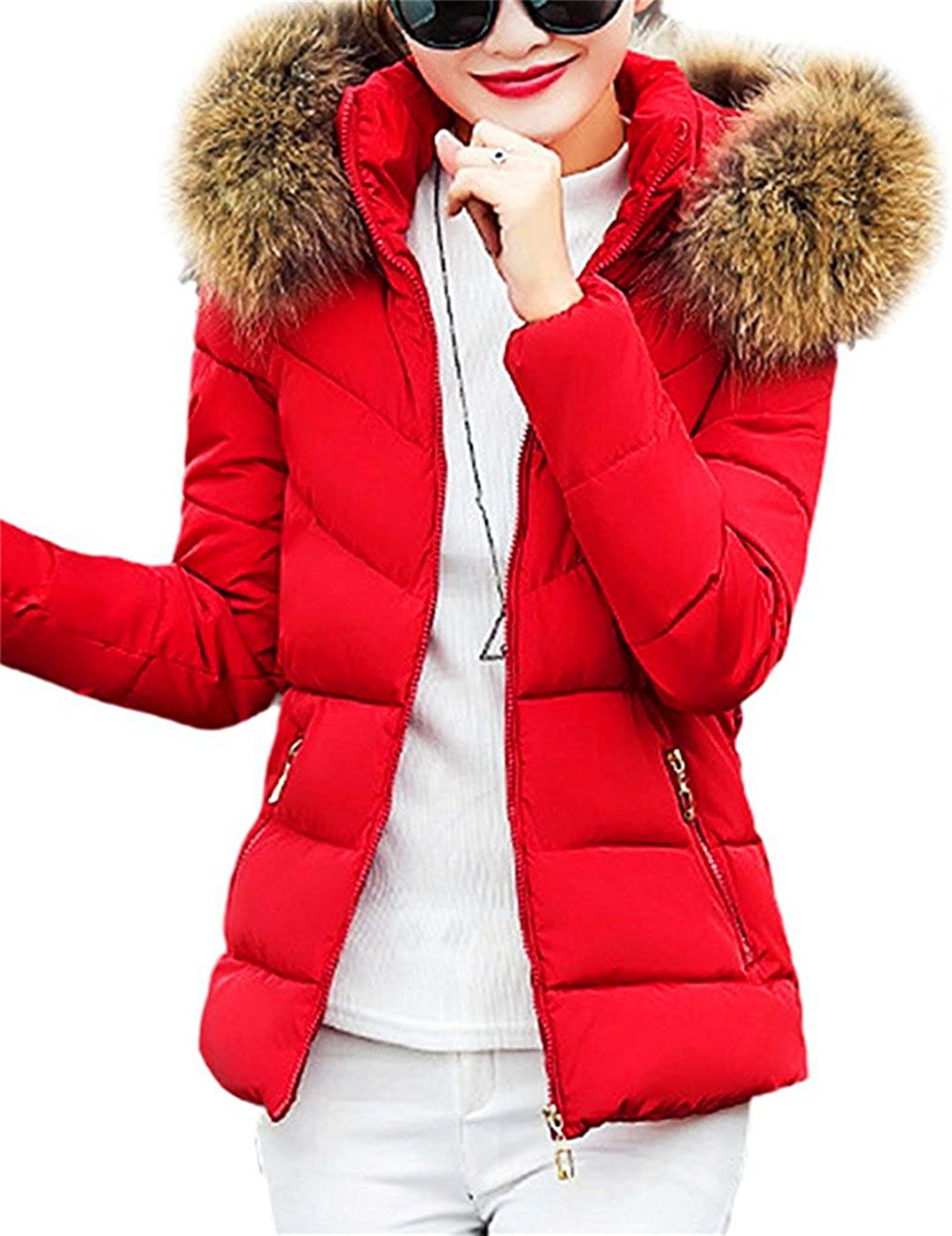 Geralds FASHION Women's Classic Winter Hooded Trench Jacket Warm Cotton Coat