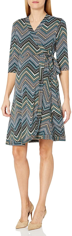 Everly Grey Women's Maternity Mila Maternity & Nursing 3/4 Sleeve Wrap Tie Dress