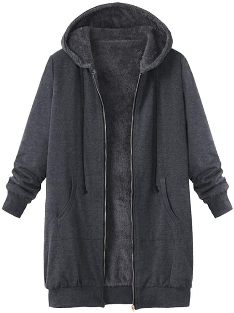 Long Coats for Women, Plus Size Womens Winter Warm Outwear Solid Hooded Pockets Vintage Coats Gray