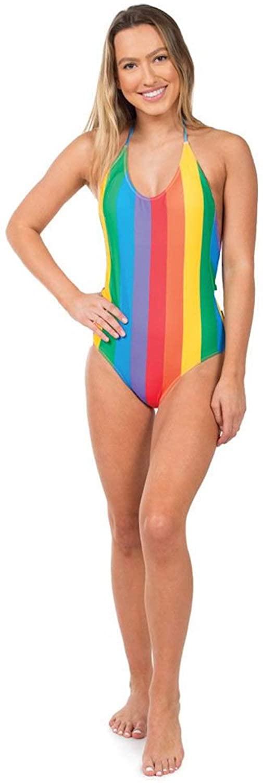 Women's Rainbow One Piece Swim Suit - Pride Multicolored Swimsuit Bathing Suit