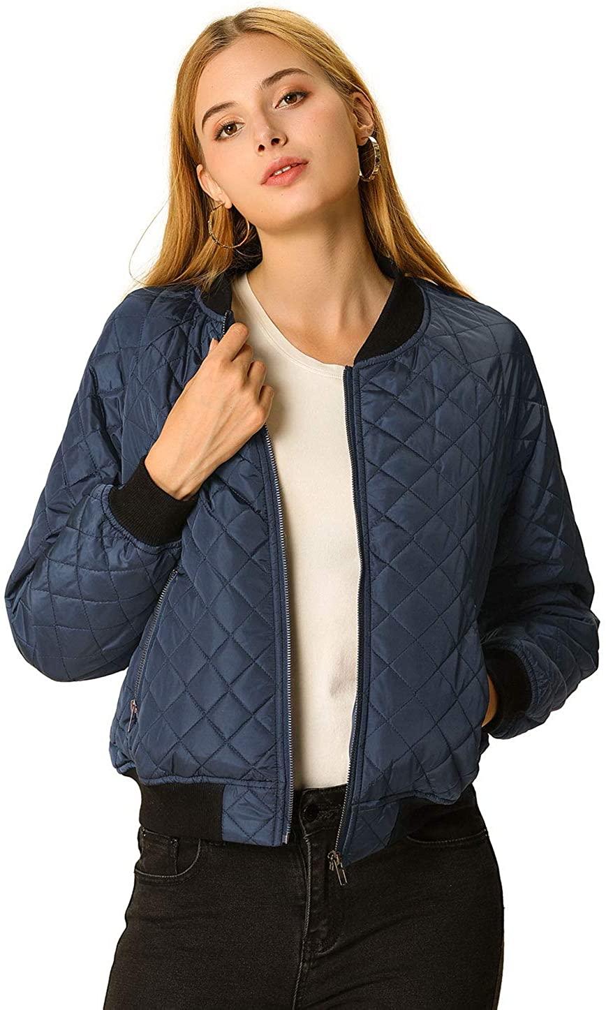 Allegra K Women's Raglan Long Sleeves Quilted Zip Up Bomber Jacket