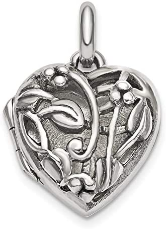 Sterling Silver Antiqued Filigree Locket Pendant