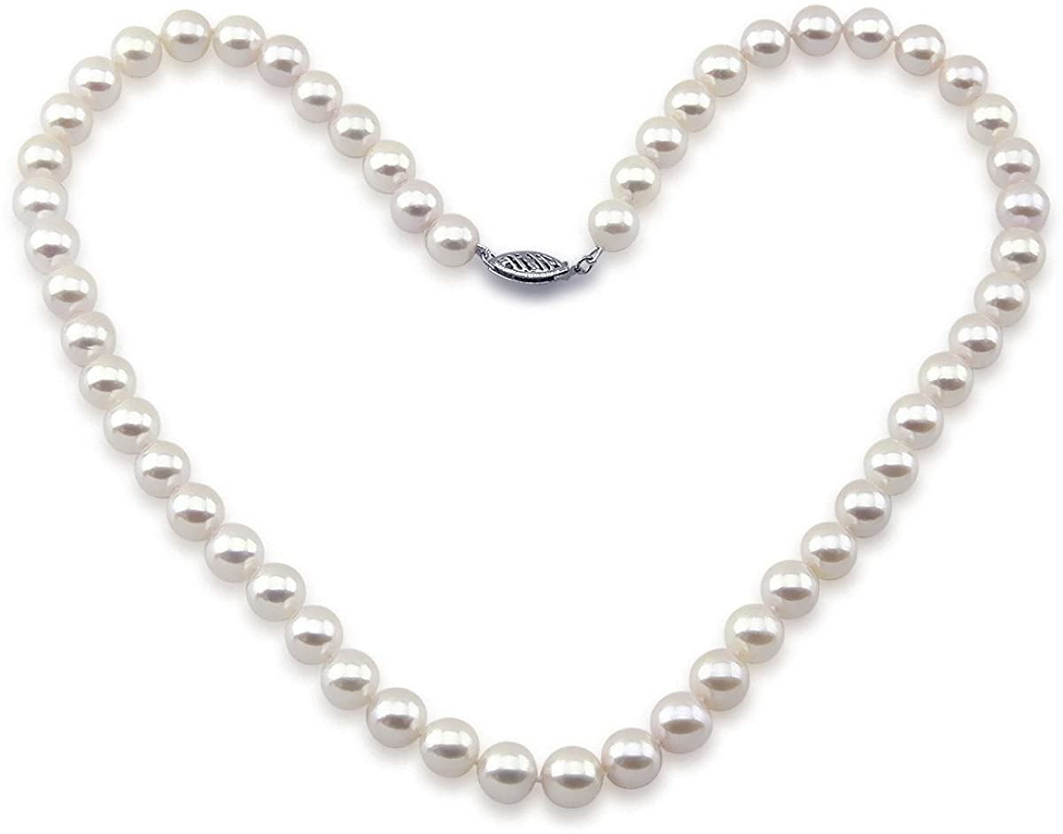 14k White Gold White Saltwater Akoya Pearl High Luster Necklace 18