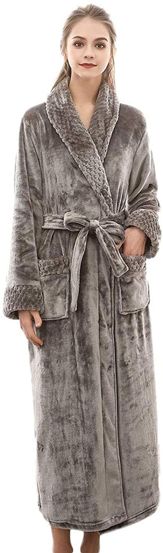 Plush Shawl Bathrobe,Thicken Warm Robe for Women with Waist Belt Dressing Gowns Housecoat