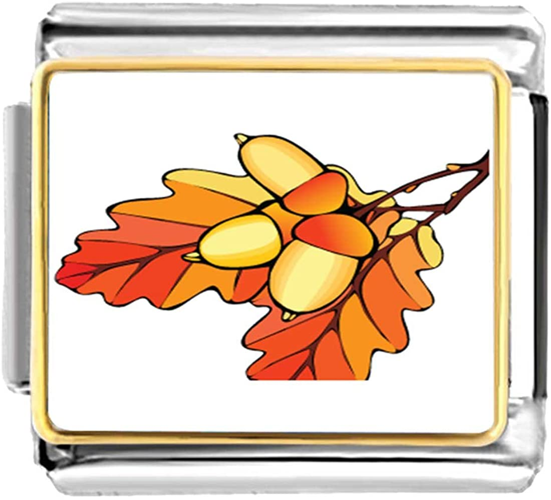 GiftJewelryShop Gold Plated Autumn Fall Acorn Leaves Bracelet Link Photo Italian Charm