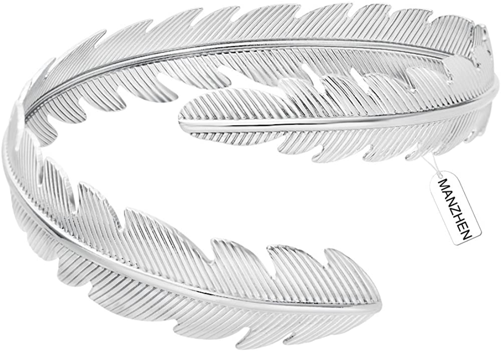 MANZHEN Gold Tone Swirl Leaf Feather Upper Arm Bracelet Armlet Cuff Bangle Armband Adjustable Mother's Day Jewelry Gift