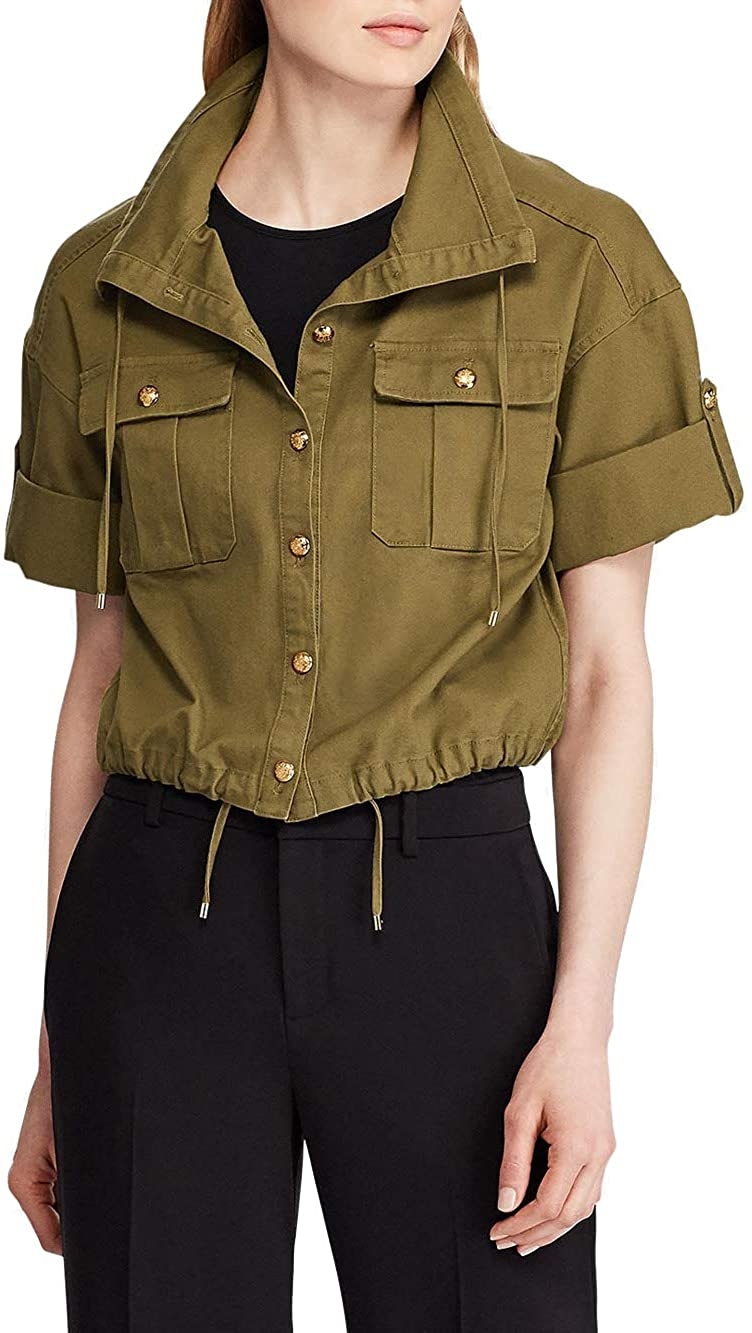 LAUREN RALPH LAUREN Womens Plus Vondra Twill Short Sleeve Cropped Jacket