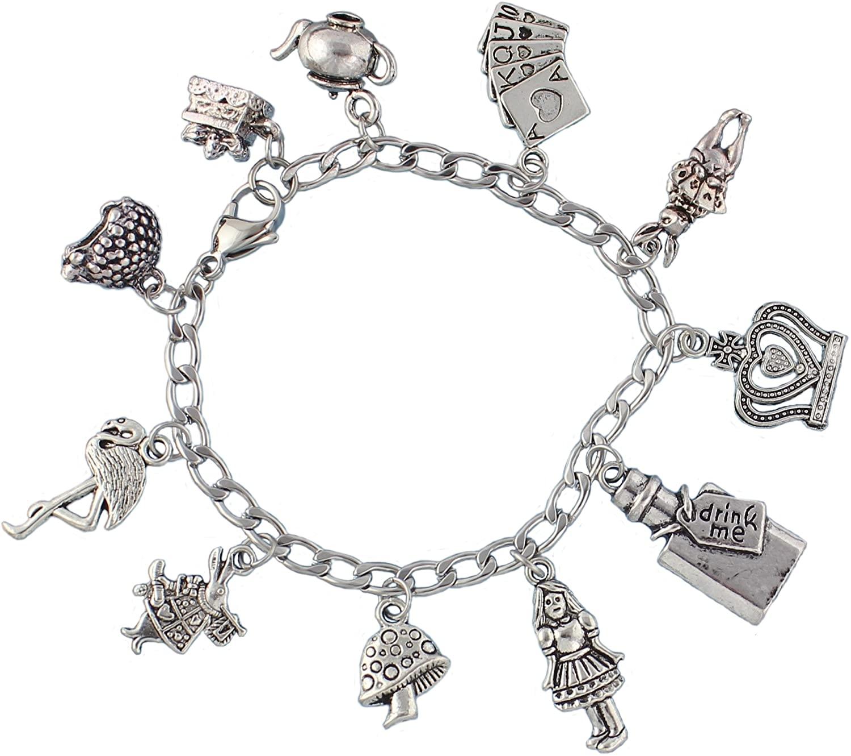 Night Owl Jewelry Alice in Wonderland Charm Bracelet- Stainless Steel Chain- Rabbit, Drink Me, Cards, Tea Pot- Sizes XS-XL