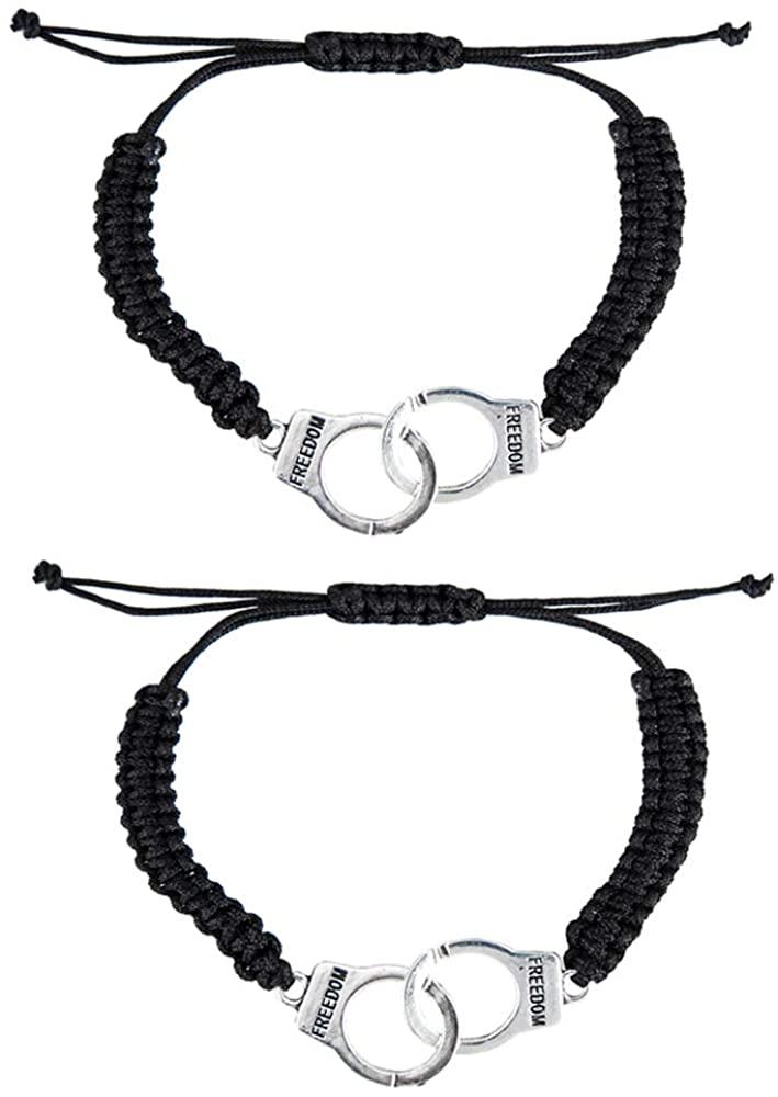 kelistom Pinky Promise Distance Bracelets Adjustable Charm Black Cord Friendship Match Bracelets for Best Friends Couple Family