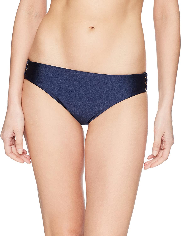 Luli Fama Women's Mambo Lace Up Grommet Full Coverage Bikini Bottom Swimwear