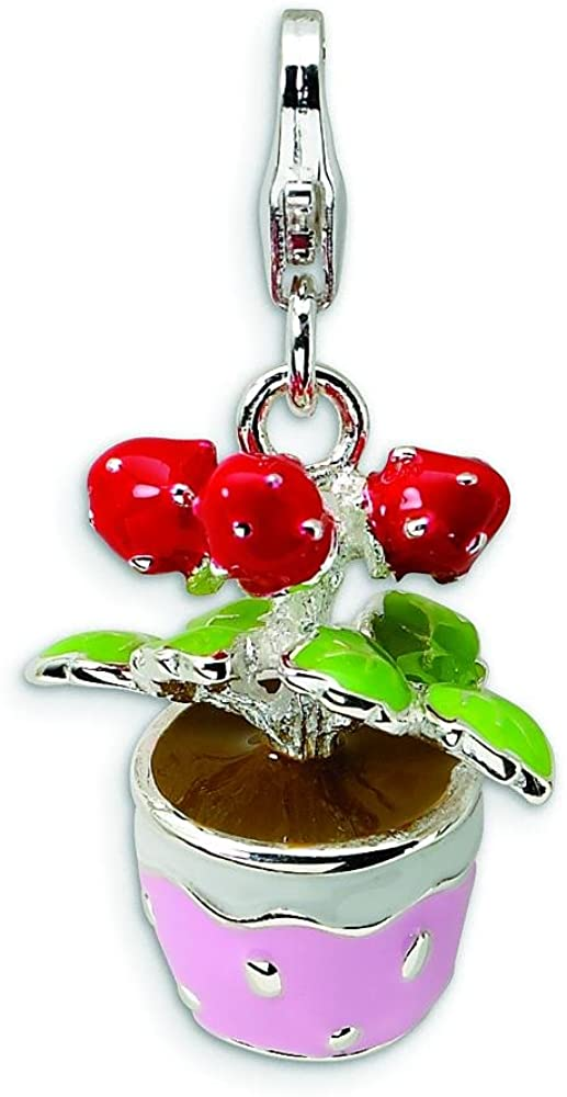 Sterling Silver Enameled Flower Lobster Clasp Charm