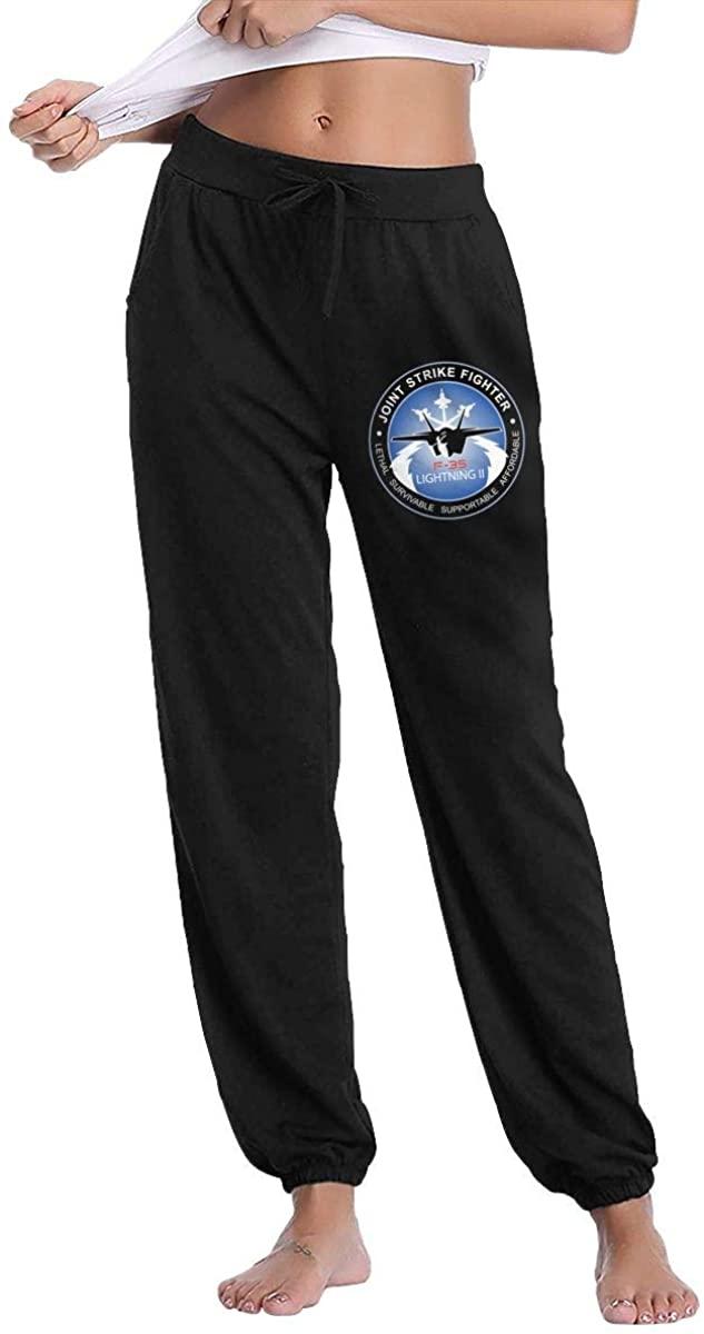 Hjgs F-35 Program Logo Women's Sweatpants Casual Cotton Jogger Pants with Pockets