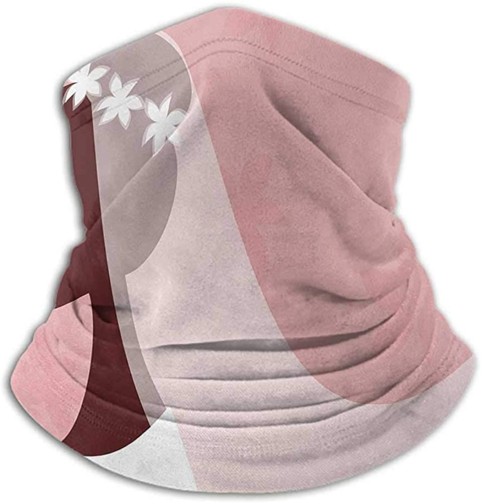 Neck Gaiter Women Bridal Shower Cold Weather Face Motorcycle Scarf Bride in Wedding Dress on Pink Backdrop with Veil Celebration Image 10 x 12 Inch Light Pink and White