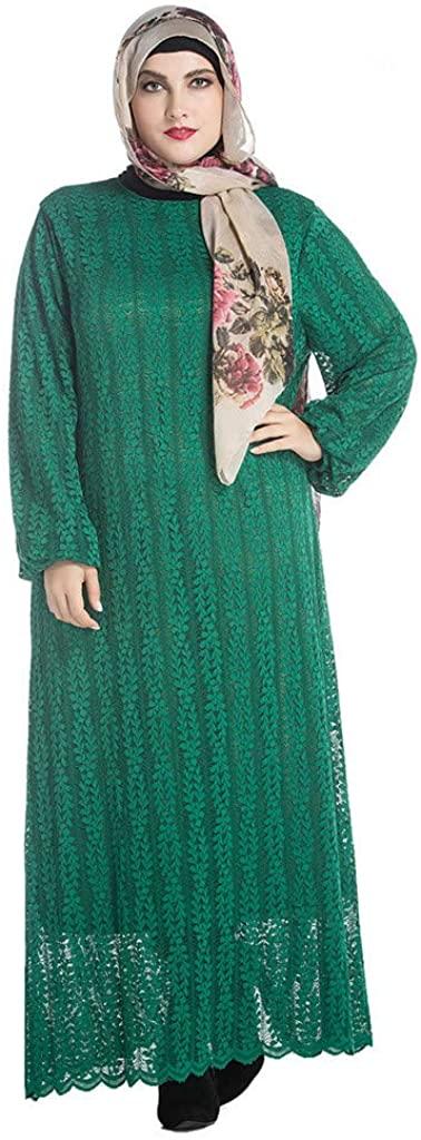 SULEAR Large Size Long Dress Vintage Women Islamic Muslim Dress Abaya Kaftan Long Sleeve Plus Size Robe