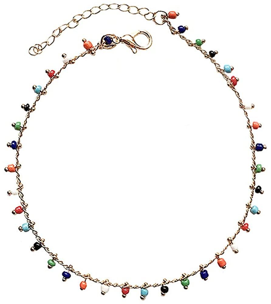 YOOE Colorful Crystal Rhinestone Drop Anklet.Summer Barefoot Handmade Beads Anklets Bracelet,Boho Beach Women Girls Jewelry