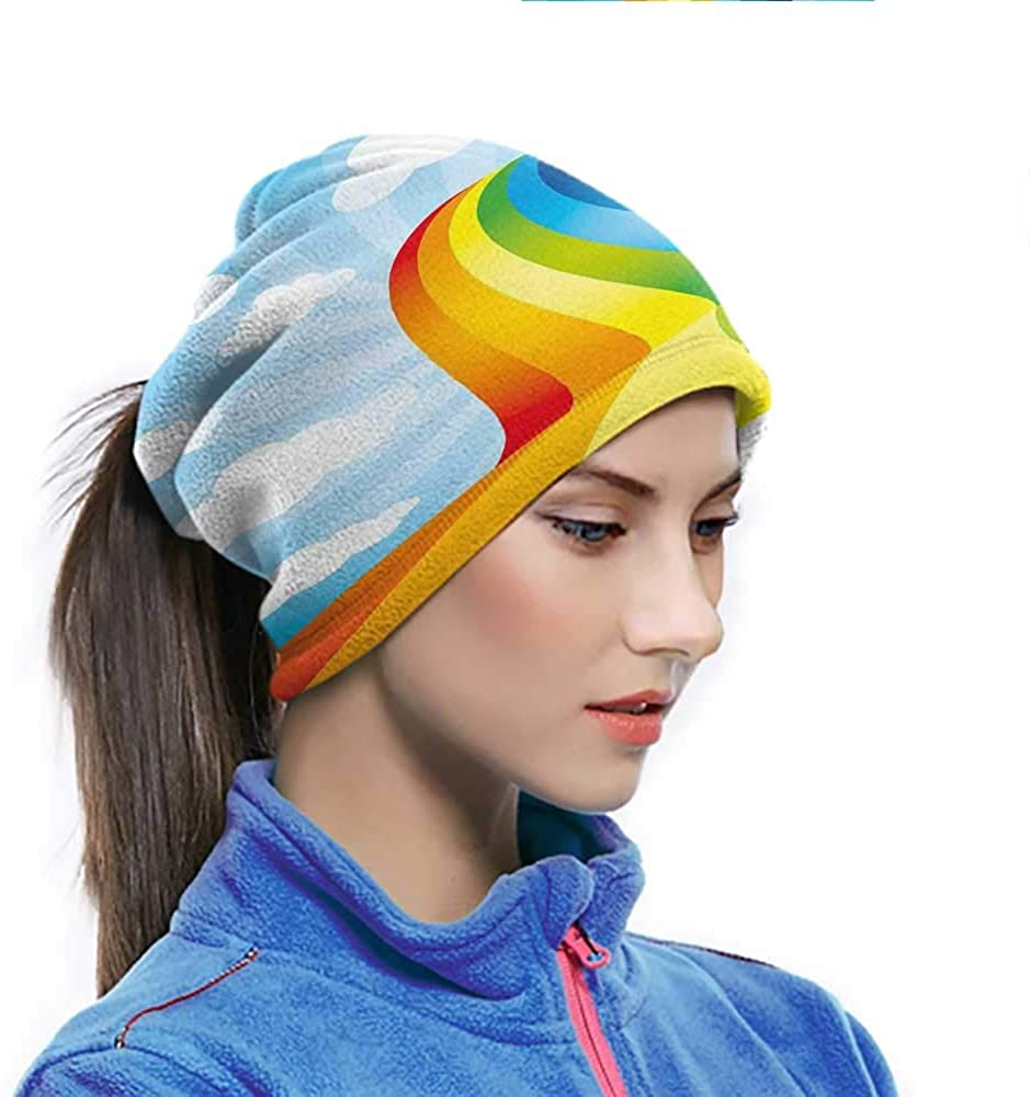 Face Cover Rainbow Road Clouds Abstract Cartoonish Expression Natural Events Ribbon Colorful Pattern Neck Gaiter Can be used as Cosplay Blue Multicolor 10 x 11.6 Inch