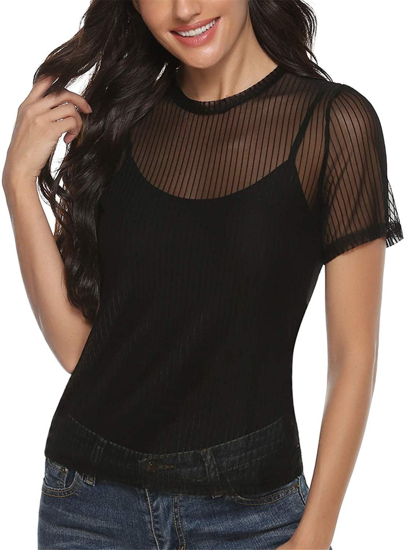 Aiboria Women's Mesh Sheer Top See Through Tee Blouse Short/Long Sleeves Crop Top