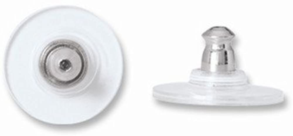 White Stainless Steel w/Clear Disc Ear Nuts (sold as single piece)