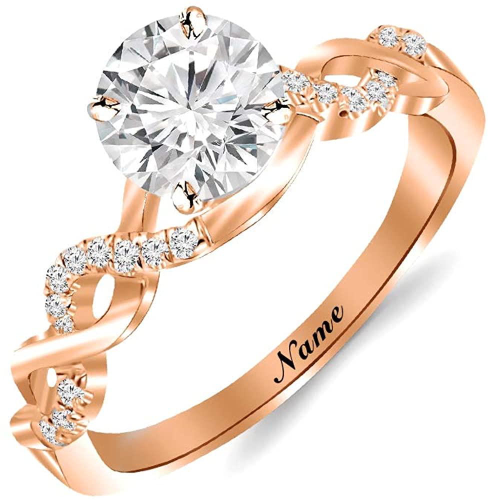 SISGEM 14K Gold Wedding Ring for Women,Split Shank Pave Set 1 Carat Moissanite Engagement Ring With Engraved Name,Wedding Anniversary Gift Size 5-11