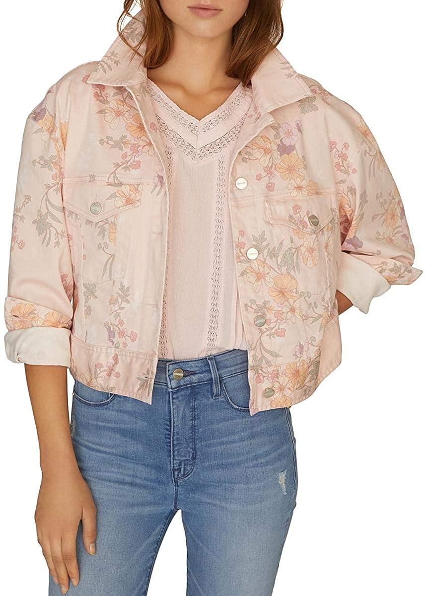 Sanctuary Womens Floral Print Lightweight Denim Jacket
