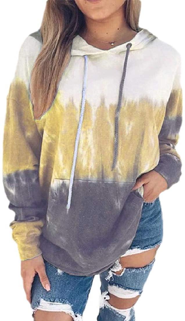 Smeiling Womens Pullover Long Sleeve Tie Dye Print Hooded Sweatshirts