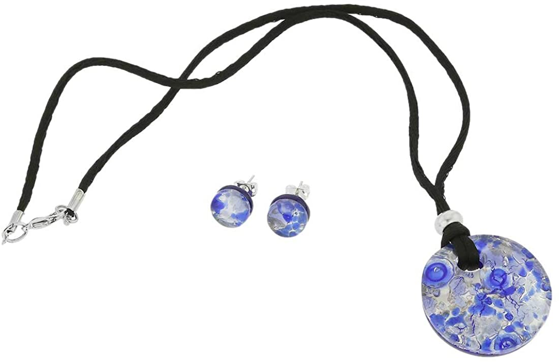 GlassOfVenice Murano Glass Venetian Reflections Round Necklace and Earrings Set - Periwinkle