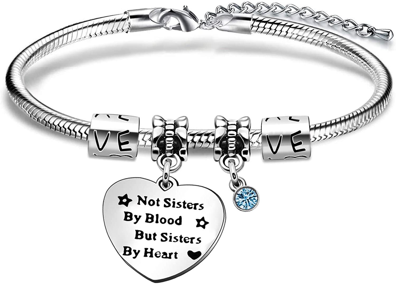 KENYG Women Fashion Jewelry Not Sisters by Blood But Sisters by Heart Bracelet Bangle for Best Friends Birthday Graduation