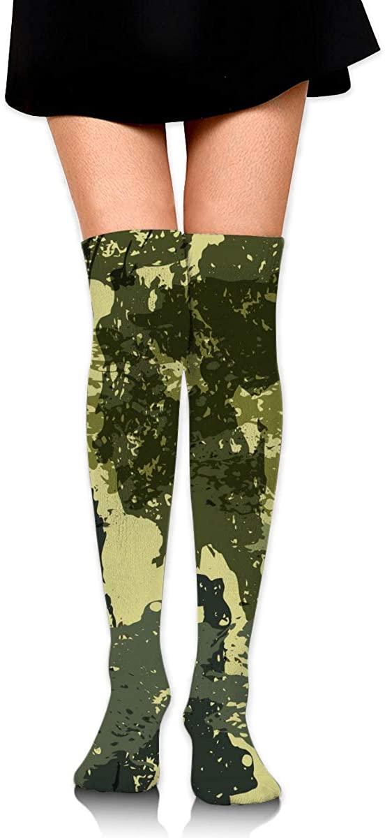 Dress Socks Green Camouflage Design High Knee Hose Soccer Hold-Up Stockings