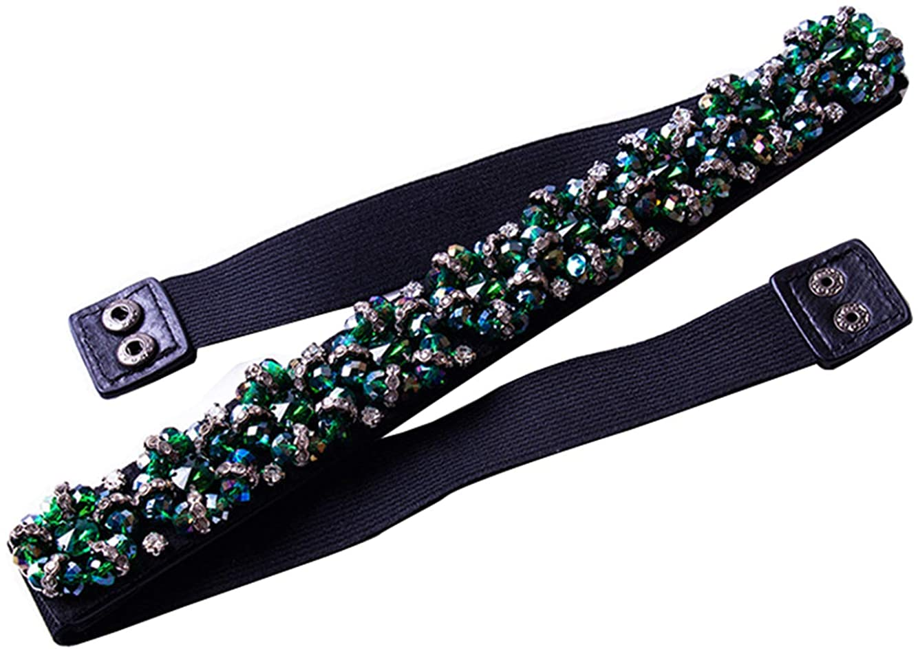 Aries Tuttle Green Crystals Beaded Wedding Dress Matched Sash Waistband Belt Bridal Waist Accessory