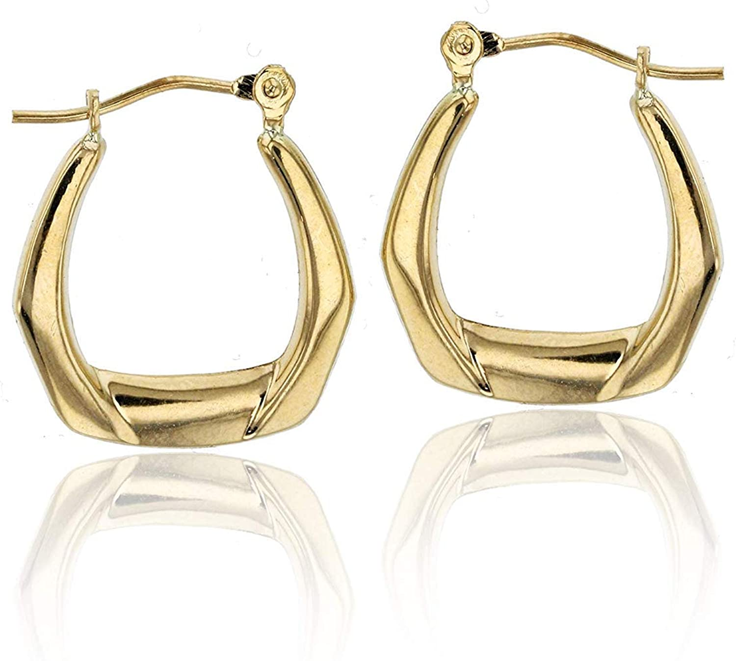 14K Yellow Gold 2mm Thick Hoop Earrings with Hinged Clasp | Hexagon,Textured Hexagon, Square, Elongated and U-shaped | Earrings For Sensitive Ears | Solid Gold Earrings For Women and Girls