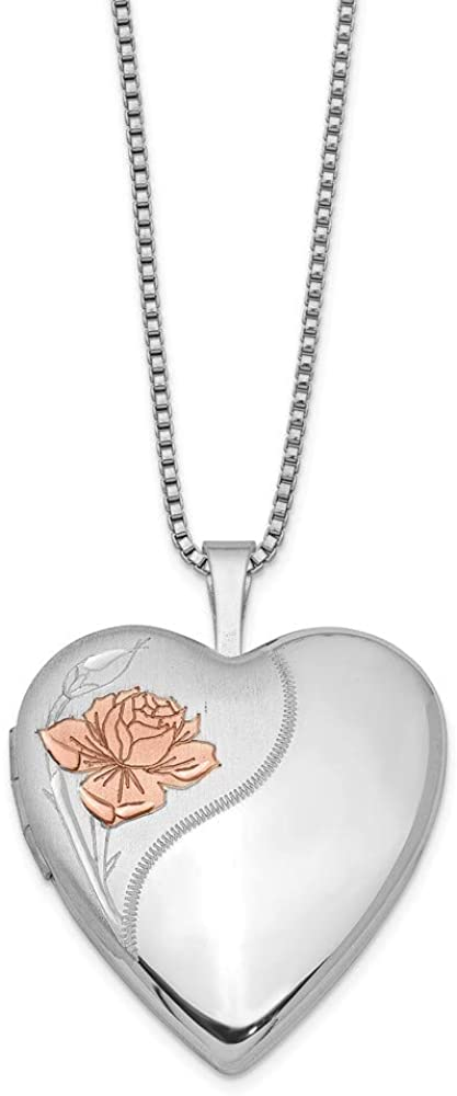 FB Jewels Solid 925 Sterling Silver Rhodium-Plated 20mm Enameled Rose Heart Locket