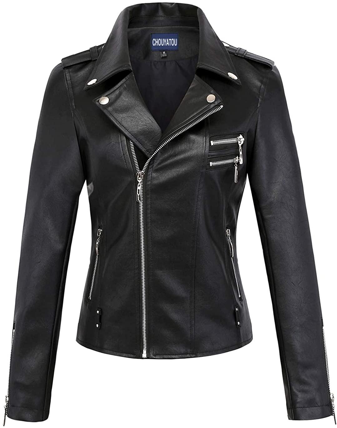 chouyatou Womens Classic Assymetric Zip Slim Punk Stylish Faux Leather Moto Jacket