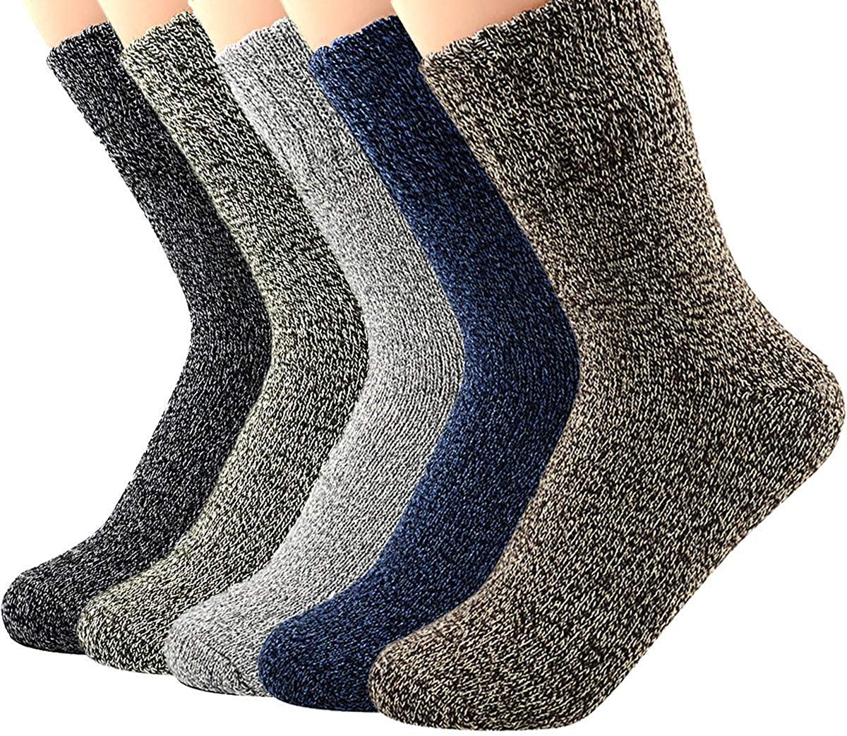 Century Star Womens Vintage Winter Soft Wool Warm Comfort Cozy Crew Socks 5 Pack