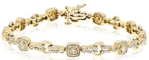 1.35CT DIAMOND 14KT YELLOW GOLD 3D CLUSTER SQUARE FUN TENNIS BRACELET