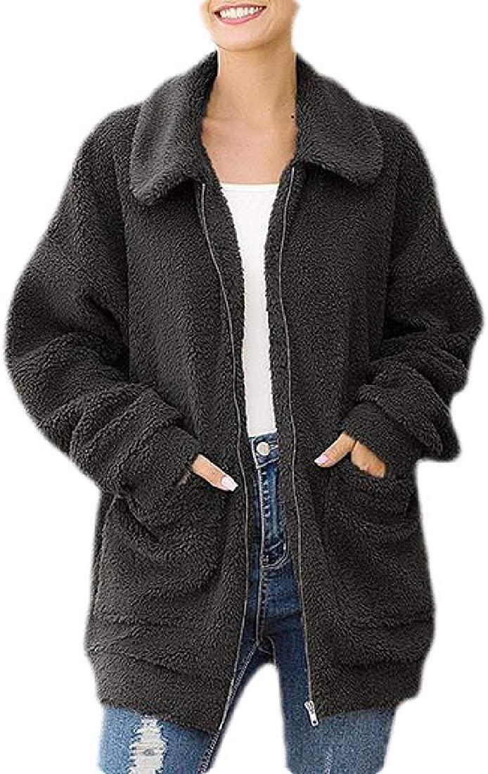 hower Women's Winter Warm Long Sleeve Lapel Zip Up Faux Shearling Shaggy Jacket