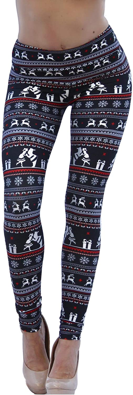 Modern Butterfly Company Buttery Soft Christmas Holiday Themed Kissing Santa Leggings